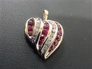 Ruby Gold-Diamond & Stone Pendant 13 Diamonds .26 Carat T.W. 10K Yellow Gold